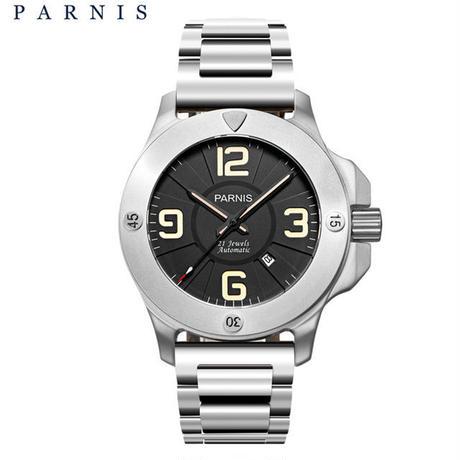 Parnis (パーニス )ミリタリー機械式腕時計 メンズ サファイアクリスタル