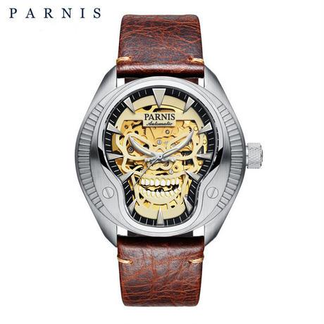 Parnis(パーニス ) スカル腕時計 ドクロデザイン スケルトン機械式 自動巻 発光  ゴールドスカルレザー5