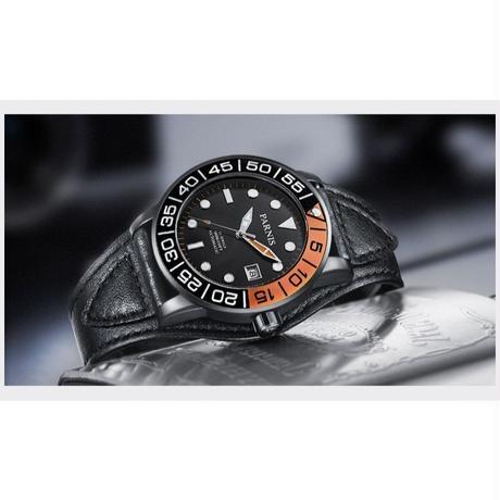Parnis メンズ ミリタリー 機械式腕時計 防水