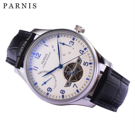 Parnis メンズ スケルトン 機械式腕時計 防水