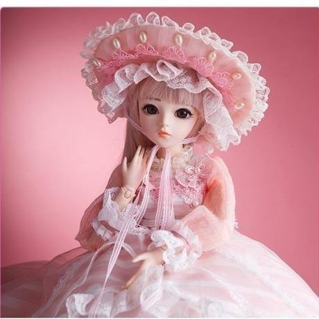 球体関節人形 BJD 衣装付き お姫様 お嬢様 女の子 フルビニール60cm 帽子ロングヘア 上品 気品 フランス人形/西洋人形/SD ピンクドレス