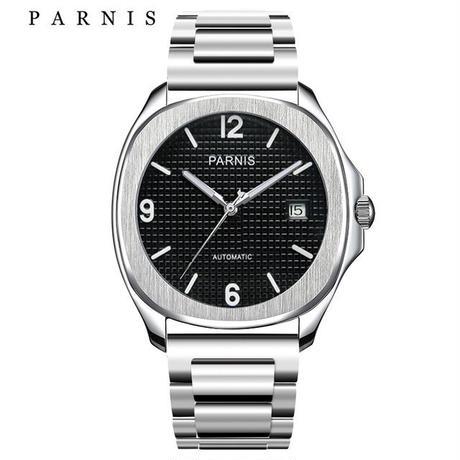 Parnis(パーニス)自動巻き サファイアブラック 機械式時計 ステンレスバンド