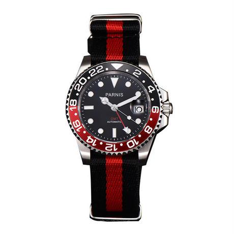 Parnis 機械式腕時計 セラミックベゼル キャンバス GMT