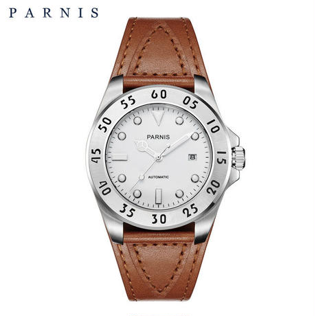 Parnis(パーニス ) メンズ 機械式腕時計 防水 カジュアルレザー