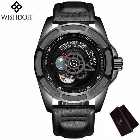 WISHDOIT 自動巻 機械式腕時計 革バンド スケルトン トゥールビヨン  耐衝撃 防水