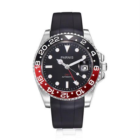 Parnis(パーニス ) 機械式腕時計 セラミックベゼル ラバーバンド GMT