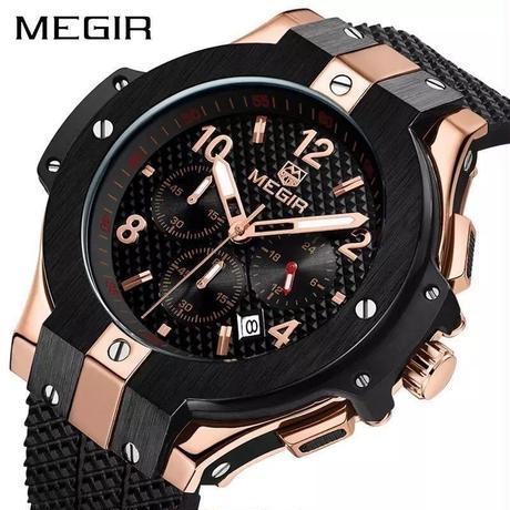 MEGIR メンズ腕時計 ウブロ風 ビッグバンタイプ ラバーバンド クォーツ クロノグラフ