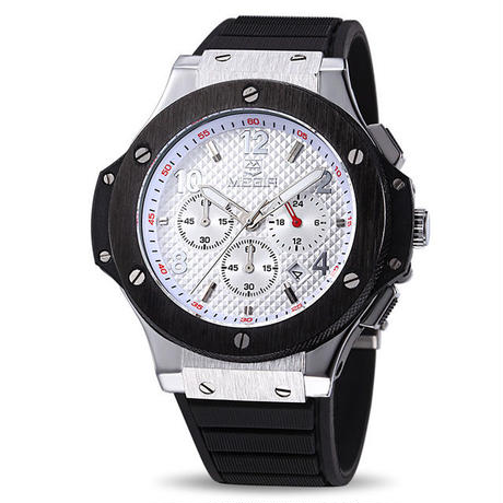 MEGIR メンズ腕時計 ウブロ風 ビッグバンタイプセラミック調ベゼル ラバーバンド クォーツ クロノグラフHG1B