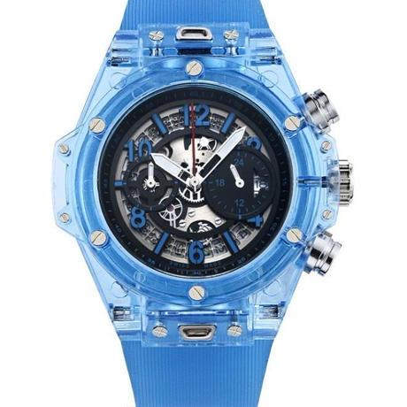 KIMSDUN スケルトン腕時計 メンズ クォーツムーブメントスカイ ブルー K-719-1