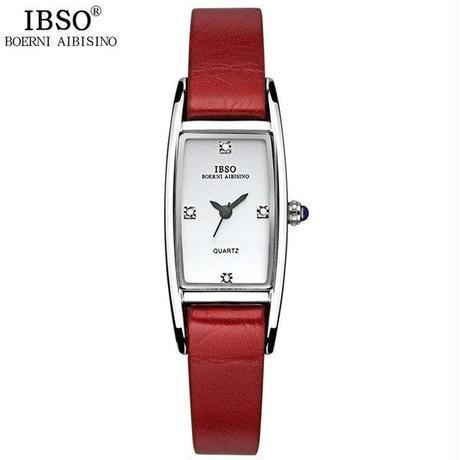 IBSOレディース 腕時計  本革ストラップ  クォーツウォッチ  女性 クリスタルダイヤモンド