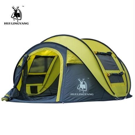 HUI LINGYANG   3-4人自動テント キャンプ ハイキング 防水