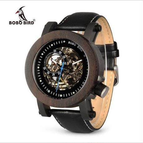BOBO BIRD 木製 機械式腕時計 スケルトンタイプ  ブラック  メンズ