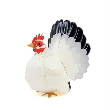 チャボつがいセット(矮鶏):Japanese Bantam(紙工作キット)