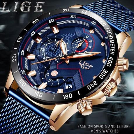 LIGE ファッション メンズ 腕時計 高級 クォーツ 時計 防水 スポーツ クロノグラフ レロジオ