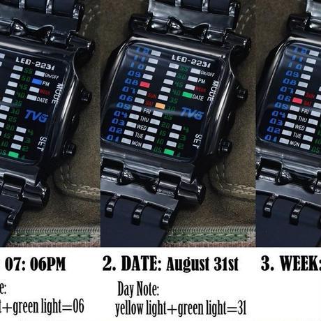 HWCOO 腕時計 TVG メンズ 防水 クオーツ スクエアダイヤル LED デジタル
