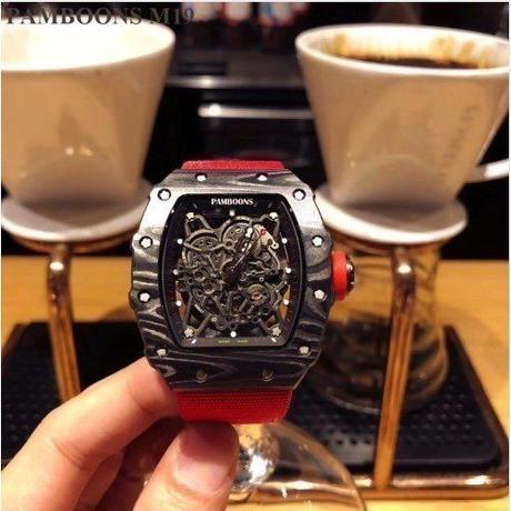 ハイブランド メンズ 腕時計 自動巻 機械式 ブラック レッド ビジネス ファッションコーディネート レザー