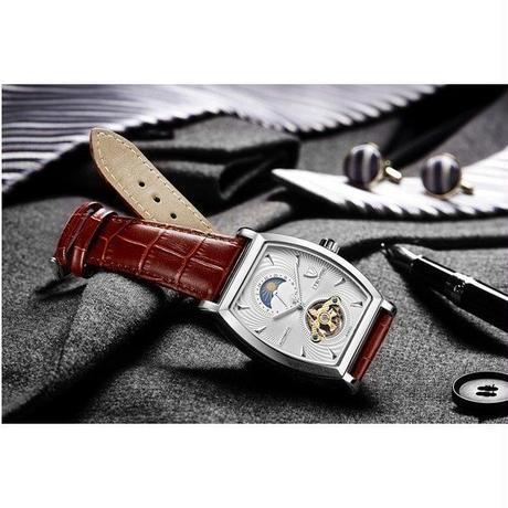 Tevise 自動巻き メンズ 腕時計 機械式 防水 ムーンフェイズ 本革製 ビジネス 海外人気 ブランド