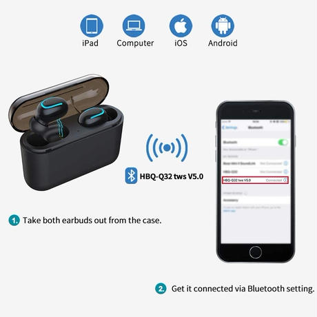 TWS Wireless Bluetooth Earphones For iPhone With Charging Box