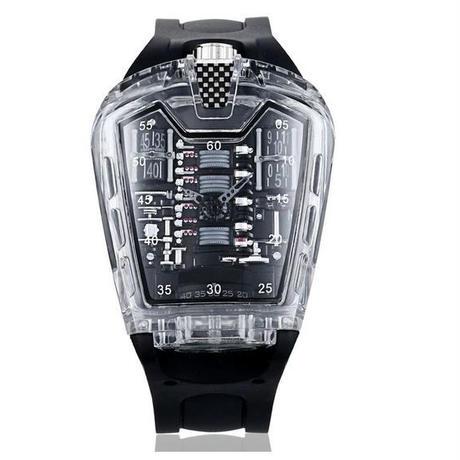 Kimsdun 男性 ファッション トレンド クォーツ 時計 腕時計 スケルトン
