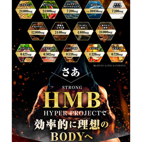 【大容量3ヶ月分】STRONG HMB HYPERPROJECT 気力 活力 男力 バルクアップ HMB サプリ