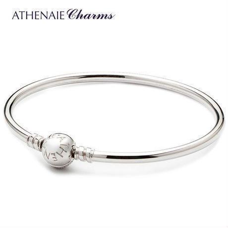 ATHENAIE パンドラ ブレスレット バングルタイプ トロールビーズ シルバー925 Silver CZ Paved Bracelet Fit Pandora