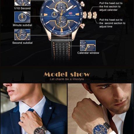 MINI FOCUS 海外 人気トップブランド 男性 メンズ 防水 クロノグラフ クォーツ式 腕時計 MF0002G