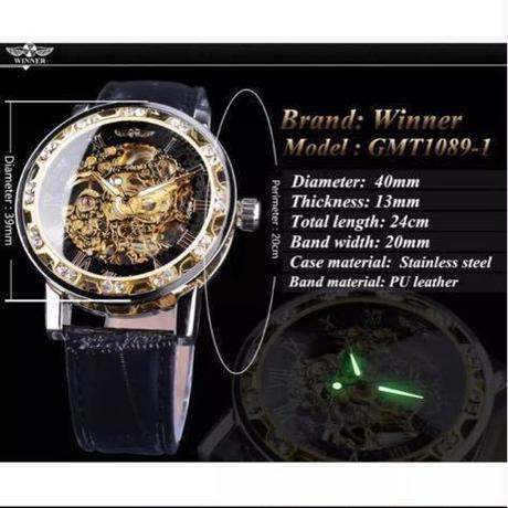海外 ブランド WINNER メンズ 腕時計 機械式 スケルトン レザーバンド ブラック ゴールド
