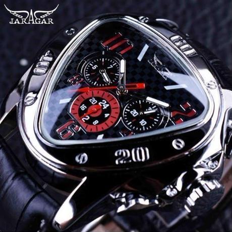Jaragar ジャガー メンズ 腕時計 高級 レザー 機械式 三角 トップブランド ブラック
