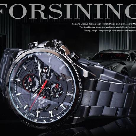 Forsining 3 ダイヤル カレンダー ステンレス メンズ 腕時計 高級 スポーツ 男性 時計
