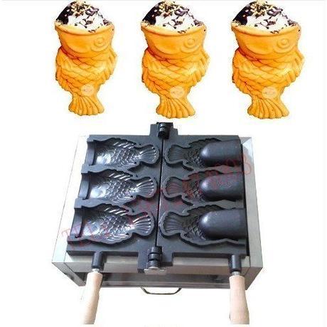 アイスクリーム ワッフルコーン たい焼き 機械 魚型 オープン鋳型 ガスタイプ 業務用 道具 ストリートスナック 海外 屋台 スイーツ
