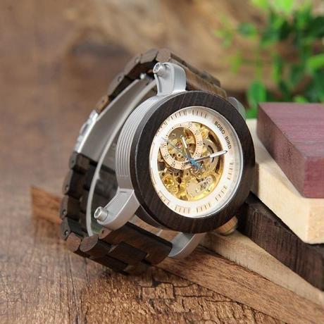 希少品 BOBO BIRD 男性 木製 腕時計 高級感 機械式 スケルトン ブラック