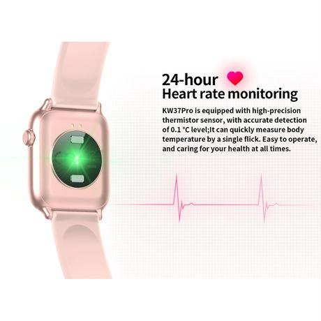 Mafam KW37Proスマートウォッチ 温度検出心拍数モニターIP68 防水アラーム時計