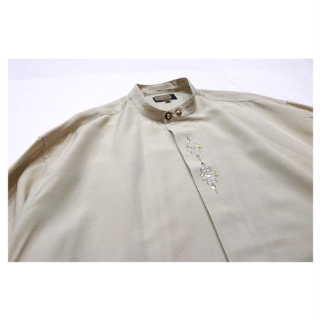 """Stand collar Design embroidery L/S shirt """"MOSA"""""""