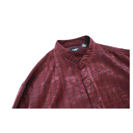 Stand collar GlenCheck Design L/S shirt