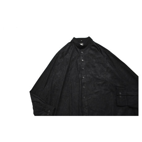 Fake suede Stand collar L/S shirt