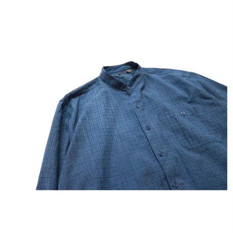 Stand collar Design Check L/S shirt