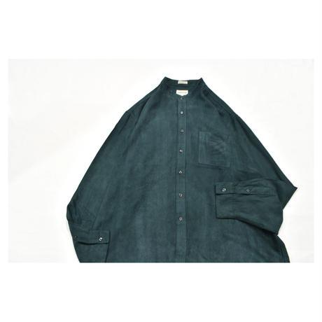 Fake suede Stand collar Design L/S shirt