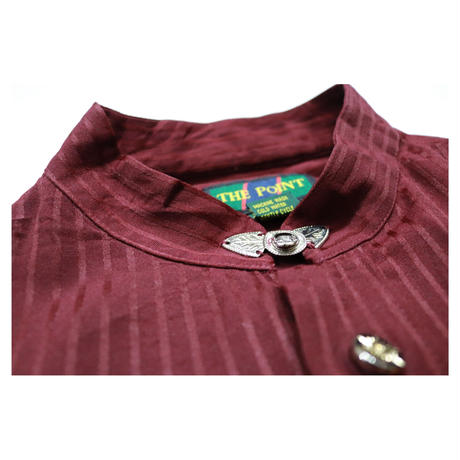 Stripe Design Stand collar Design L/S shirt