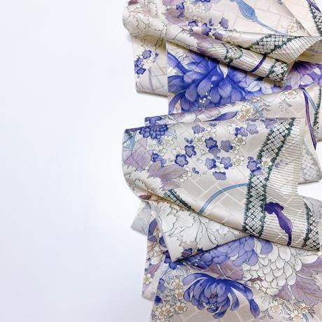 藤牡丹枝梅模様檜垣地紋【ギャザーラップスカート】