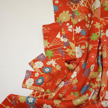 菊に蝶模様【ギャザーラップスカート】