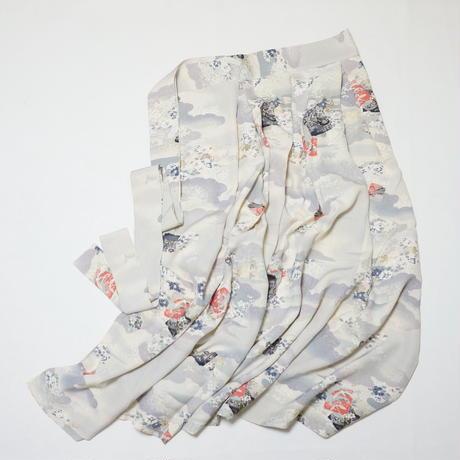 色紙に蝶・群鶴模様【タックラップスカート】