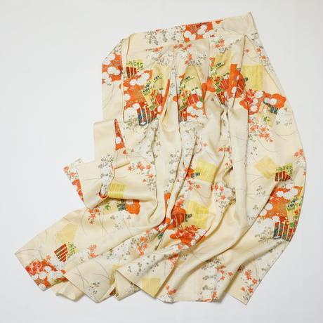 源氏車に菊・楓模様【タックラップスカート】