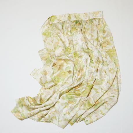 蝶に花模様縦縞地紋【ギャザーラップスカート】