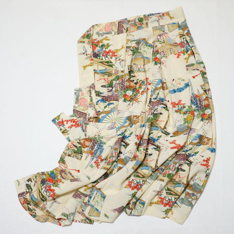 扇に屋敷花籠模様【タックラップスカート】