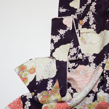 雲に枝梅模様【タックラップスカート】