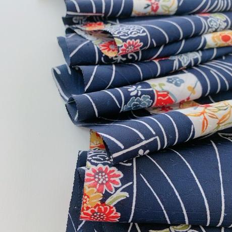 型染短冊に草花模様【ギャザーラップスカート】