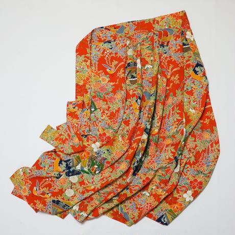 色紙に几帳・時代人物花鳥模様【タックラップスカート】