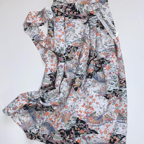 御所車屋敷模様巻きスカート