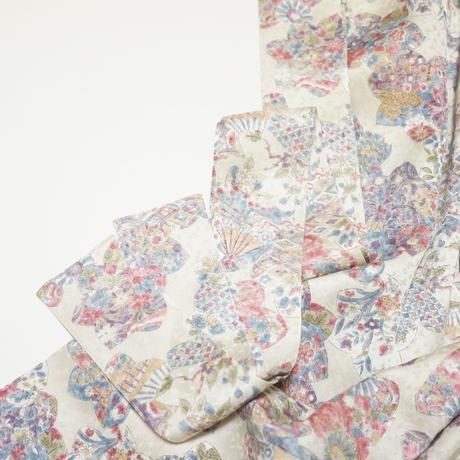 楓に花古典柄【ギャザーラップスカート】