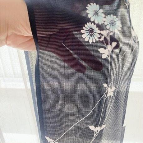絽の枝菊尽くし【化繊】【タックラップスカート】